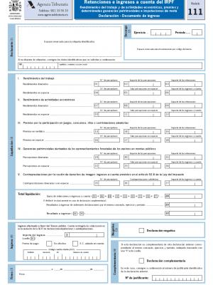modelo 111 de retenciones de personal, retenciones de profesionales, mod 111